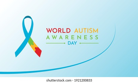 Blue World autism day wallpaper with ribbon autism day Free Vector
