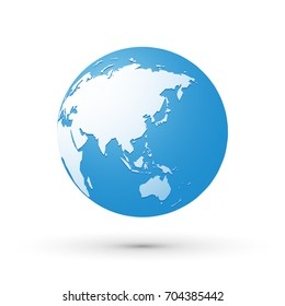 blue world earth globe asia japan internet concept