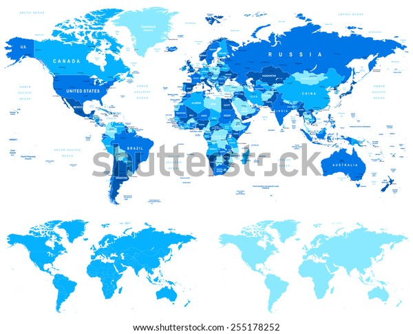 Blue World Map - borders, countries and cities - illustration World maps with different specification. 1 - highly detailed: countries, cities, water objects 2 - country contours 3 - world contours