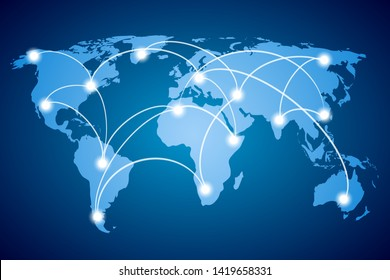 Blue World Map, continents of the planet, globalization, world communications, Social Network - stock vector