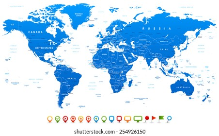 Blue World Map and navigation icons - illustration Highly detailed world map: countries, cities, water objects