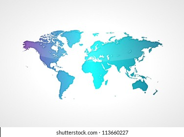 Blue world map. Vector saved as eps-10, file contains objects with transparency.