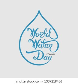 Blue World Water Day Typographical Design Elements.World Water Day icon.March,22.Minimalistic design for World Water Day concept.Vector illustration