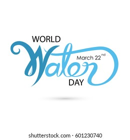Blue World Water Day Typographical Design Elements.World Water Day icon.Minimalistic design for World Water Day concept.Vector illustration