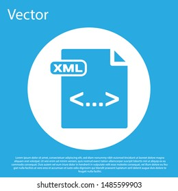 Blue XML file document. Download xml button icon isolated on blue background. XML file symbol. White circle button. Vector Illustration