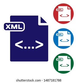 Blue XML file document. Download xml button icon isolated on white background. XML file symbol. Set color icons in circle buttons. Vector Illustration