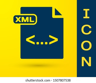 Blue XML file document. Download xml button icon isolated on yellow background. XML file symbol.  Vector Illustration