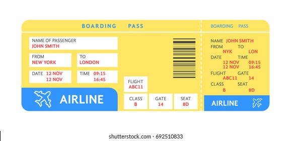 blue yellow air ticket by plane with text. concept of travelling check with details or boarding pass reservation. flat style trend modern graphic design illustration isolated on white background