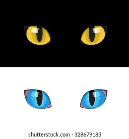 The blue and yellow cat eyes on the black and white background