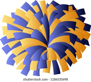 Blue and yellow cheerleader pom-pom