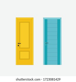 blue and yellow color home door design vector illustration art