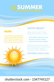 Blue and yellow document template with summer Sun symbol