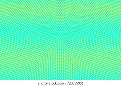 Blue and yellow dotted halftone vector background. Horizontal gradient halftone pattern. Retro halftone banner template. Aqua green dotted pattern. Abstract dotted backdrop. Pop art surface design
