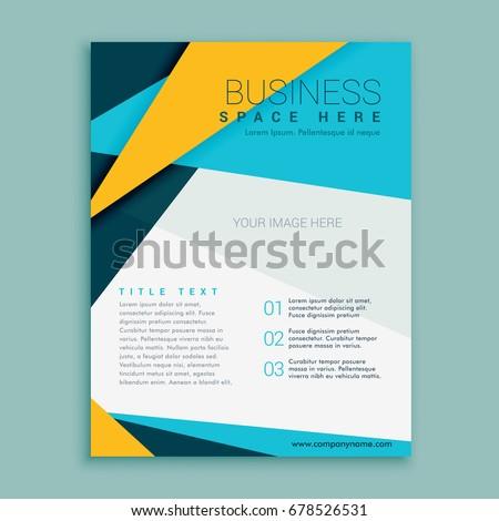 blue yellow geometric brochure flyer design stock vector royalty