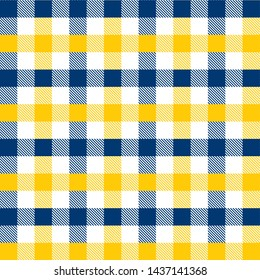 Blue and Yellow Gingham pattern. Texture from rhombus/squares for - plaid, tablecloths, clothes, shirts, dresses, paper, bedding, blankets, quilts and other textile products. Vector illustration EPS 1