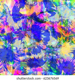 Blue, yellow, green, purple colors. Bright chaotic texture. Abstract seamless background for fabric, wrapping, home decor. Watercolor effect