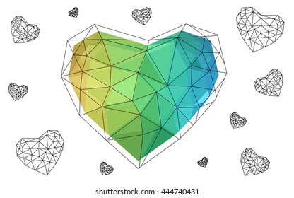 Blue, yellow heart isolated on white background. Geometric rumpled triangular low poly origami style gradient graphic illustration. Vector polygonal design for your business.