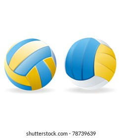 blue and yellow leather volleyballs