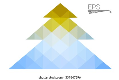 Blue, yellow low poly style christmas tree vector illustration consisting of triangles. Abstract triangular poly origami or crystal design of New Years celebration. Isolated on white background