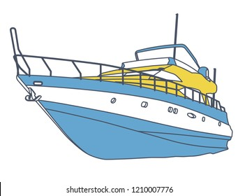Blue yellow motor boat. Outlined sea yacht for fishing and leisure time. Luxury expensive motorboat, luxurious powerboat, deluxe speedboat. Vector illustration, isolated on white background