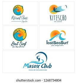 blue yellow orange navy circle swash surfing tree sun splash water paragliding beach logo design idea  vector suitable for shop apparel board outdoor wardrobe brand
