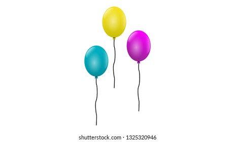 Blue, Yellow and purple glossy balloon vector illustration on white background. Glossy realistic baloon for design element, decoration, banner, wallpaper element Birthday party.