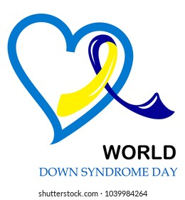 Blue & Yellow Ribbon Close to Heart Icon. Solidarity Campaign on World Down Syndrome Day. Fight for Tolerance to Disabled Children & Equal Rights Concept. Vector Illustration