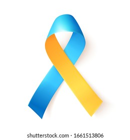 Blue yellow ribbon over white background. Template symbol for World down syndrome day. March 21. Vector illustration.