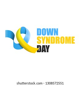 Blue and yellow ribbon with text world down syndrome day logo