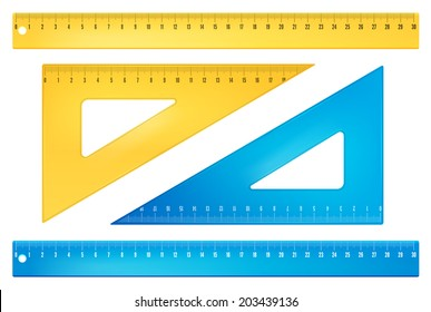 Blue and yellow rulers in  millimeters. Vector objects