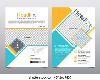 Blue and Yellow square shape annual report brochure flyer design template vector, Leaflet cover presentation abstract , layout in A4 size