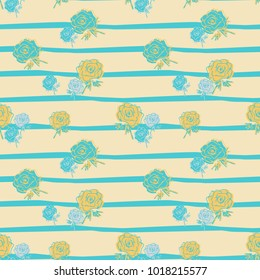 Blue and Yellow Striped Floral Seamless Pattern