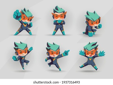 Blue yellow Super Hero Boy Mascot Character Set