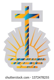 Blue and yellow symbol of a New Apostolic religion vector illustration on a white background