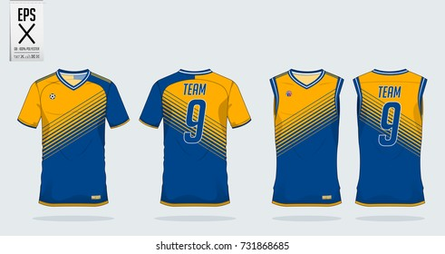 Blue and yellow t-shirt sport design template for soccer jersey, football kit and tank top for basketball jersey. Sport uniform in front view and back view. T-shirt mock up for sport club. Vector.