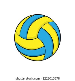 Blue and yellow volleybal logo isolated on white background