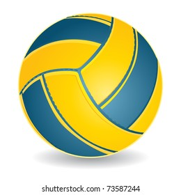 Blue and yellow volleyball ball isolated over white, vector illustration
