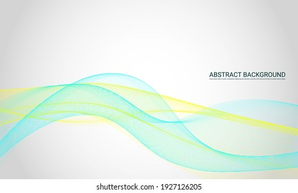 Blue and yellow wave lines background.