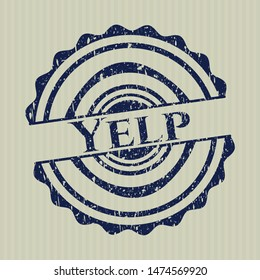 Blue Yelp distress rubber texture