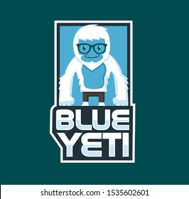 blue yeti logo design character esport