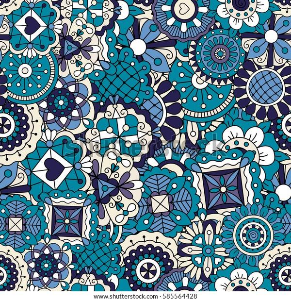 Blue Zentangle Doodle Pattern Vector Seamless Stock Vector