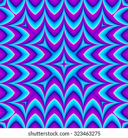 Blue zigzags (optical expansion illusion). Seamless pattern.