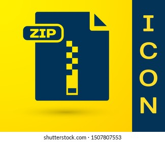 Blue ZIP file document. Download zip button icon isolated on yellow background. ZIP file symbol.  Vector Illustration