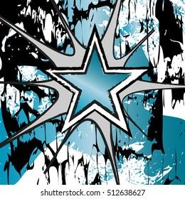 Blue Zircon colored rock n roll grunge star vector background