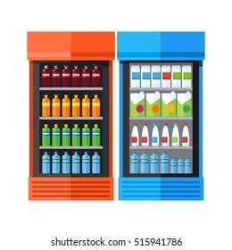 Bluea and orange showcases refrigerators for cooling drinks in bottles. Different colored bottles in drinks fridges. Fridge dispenser cooling machine. Isolated objects in flat design on white