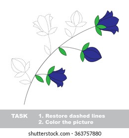 Bluebell flower in vector colorful to be traced. Restore dashed line and color the picture. Worksheet to be colored.