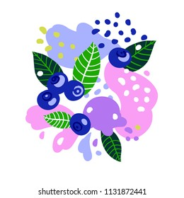 Blueberries on abstract background. Vector illustration