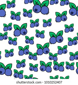 Blueberries Vector Seamless Pattern