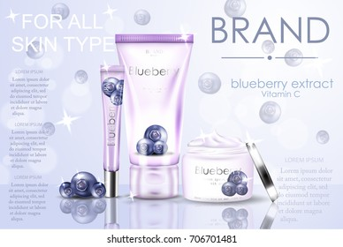 Blueberry extract, cosmetic ads with  and sparkles elements in 3d vector illustration. Blue  cosmetic set.