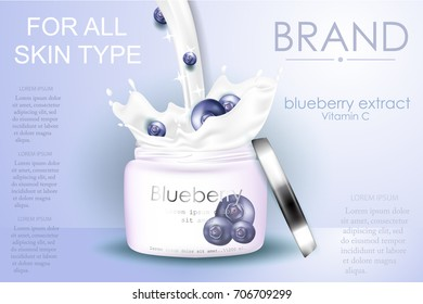 Blueberry extract, cosmetic ads with splash liquid in 3d vector illustration. Blue cosmetic package.